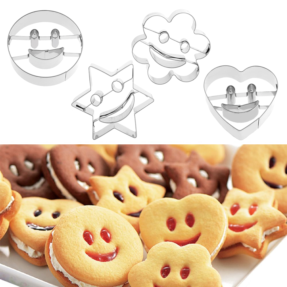 1Set(4Pcs) New Nice Stainless Steel Smiling Face Emoji Biscuit Cookie Cutter Cake Decorating Mold DIY Baking Mould Bakeware