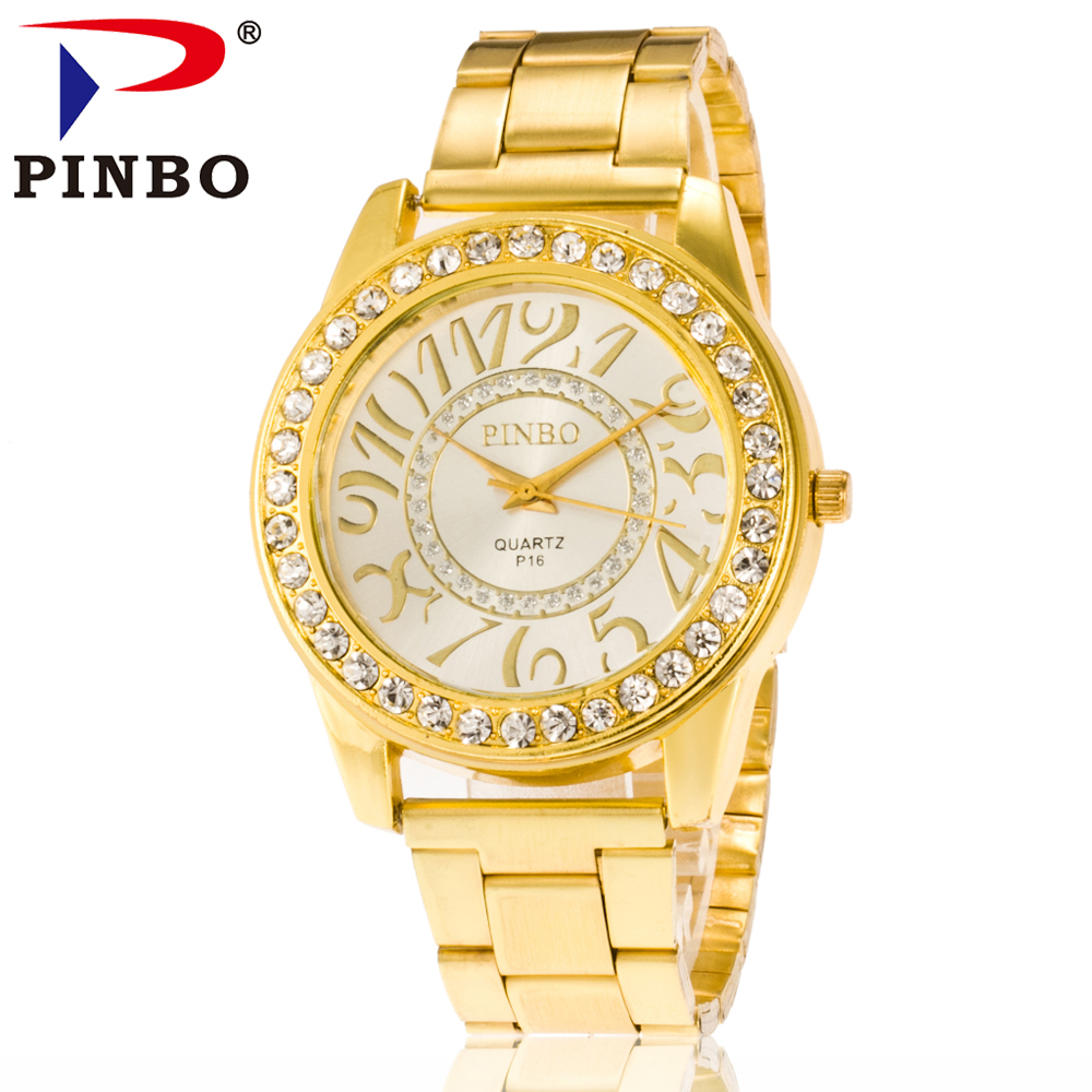 2016 New Famous PINBO Brand Gold Casual Quartz Watch Women Crystal Stainless Steel Dress Watches Relogio Feminino Clock Hot Sale mcykcy new famous brand casual quartz watch men gold stainless steel fashion dress watches relogio masculino unisex clock hot