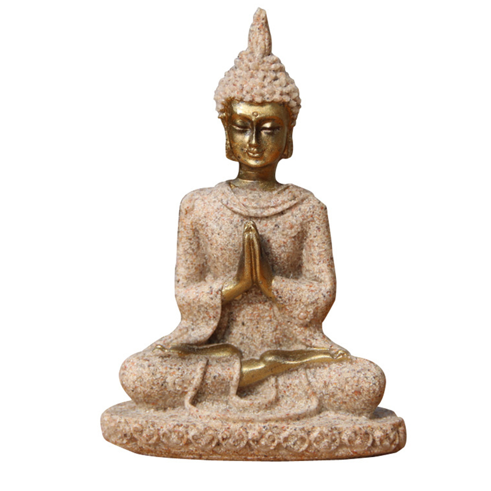 Meditation Figurine Stores Miniature Exquisite Handmade Sculpture Office Craft Buddha Statue Nature Sandstone Mini Eco-friendly