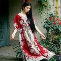Персонализированные путешествия праздник платье Индия Непал бязь платье 90-х Boho Бязь Цветочный Крючком печати Индии Фестиваль Макси Платье