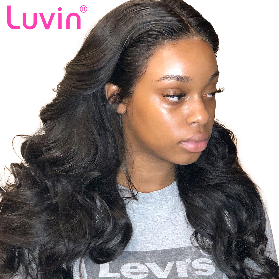 Luvin 360 Lace Frontal Wigs For Women Black Pre Plucked With Baby Hair Brazilian Wavy Human