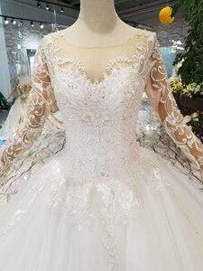 Image 4 - HTL109 batı tarzı gelinlik saf yeni o boyun uzun aplikler tül kollu gelinlik платье на бретельках