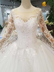 Image 4 - HTL109 vestidos de boda de estilo occidental puro nuevo cuello redondo apliques largos de tul mangas vestido de novia de la muchacha