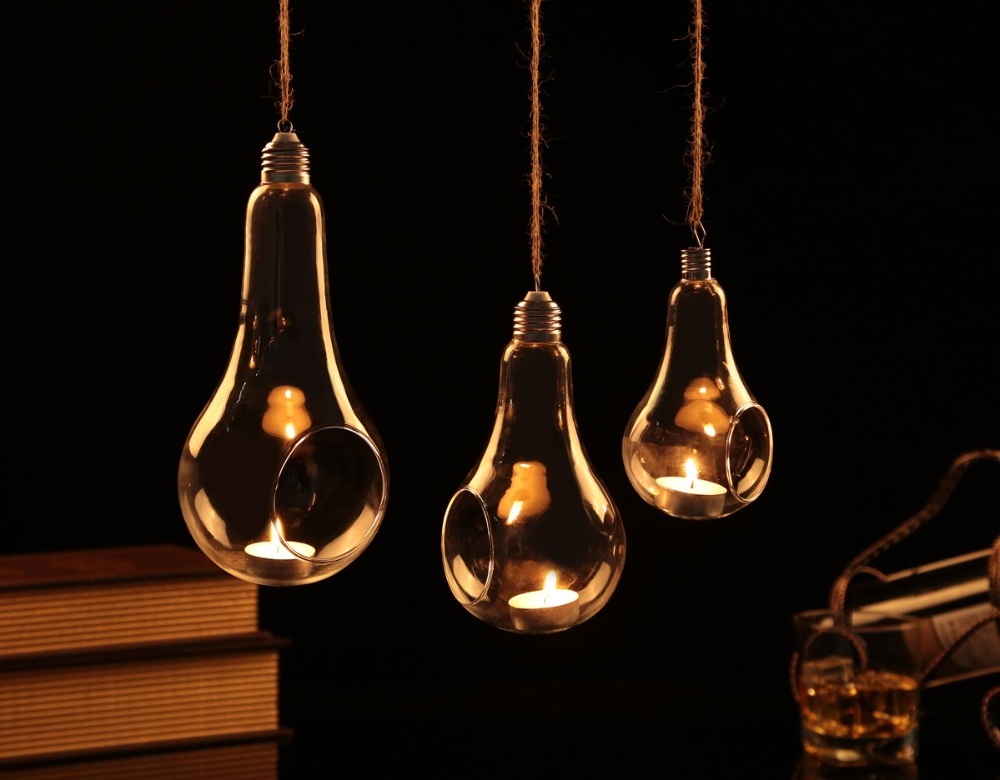 Hanging Glass Bulb lamp Candle Holder Hanging Terrarium