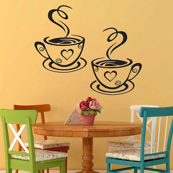 2017 Art Decal Wall Stickers Coffee Cups Vinyl Kitchen Cafe Home Tea Beautiful Design Adesivo De Parede Stickers Muraux
