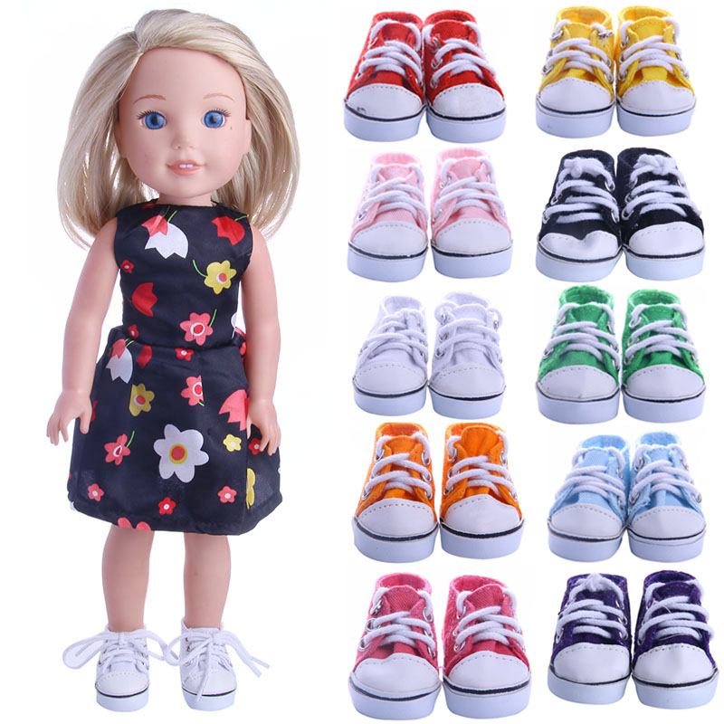 """White Canvas Tennis Shoes for 14.5/"""" American Girl Wellie Wishers Wisher Dolls"""