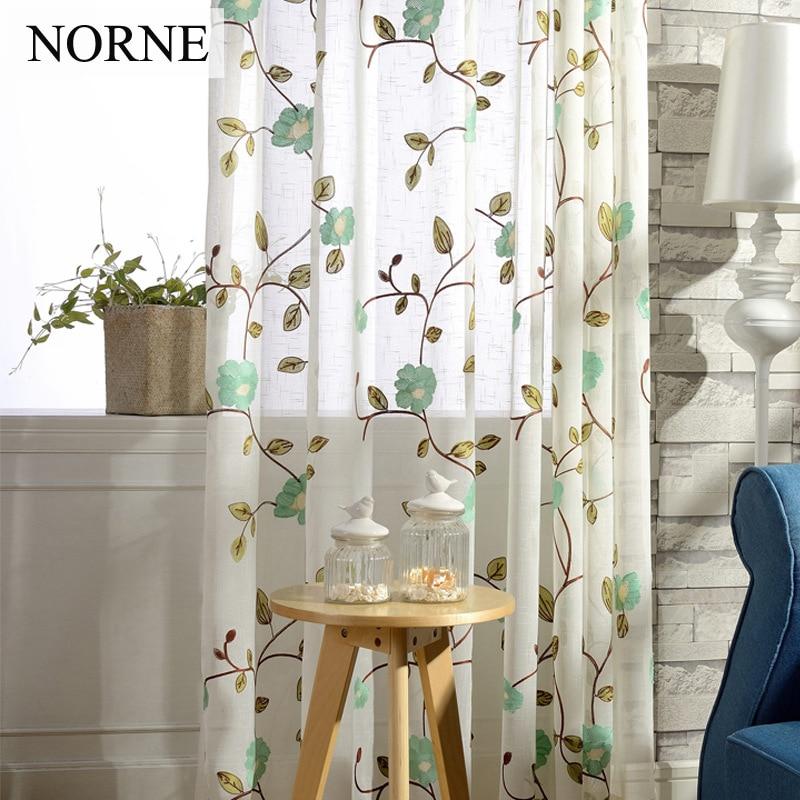 NORNE Vyšívané květinové umělé lněné prádlo Polopropustné záclony Okenní závěsy na záclony Ošetření pro dveře do obývacího pokoje Ložnice