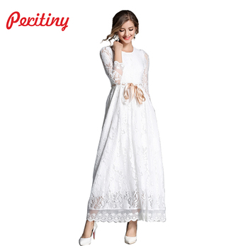 Peritiny Weiß Spitze Kleid Solide A-Line Vestidos Ankle-Länge Band ...