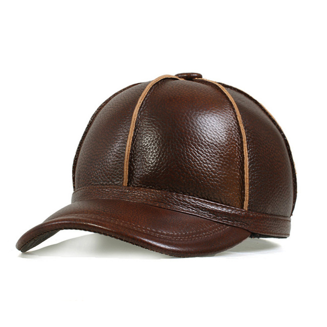 Winter Man Causual Dome Flat-Topped Cap Gorras  Baseball Caps Fishing Hat Outdoor Camping Hiking Real Leather Cow Hats