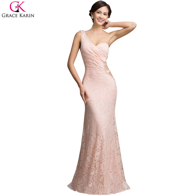 Special Back Design Grace Karin Sexy Backless One Shoulder Pink Mermaid Prom  Dresses Lace Long Prom 4a0b105f427b