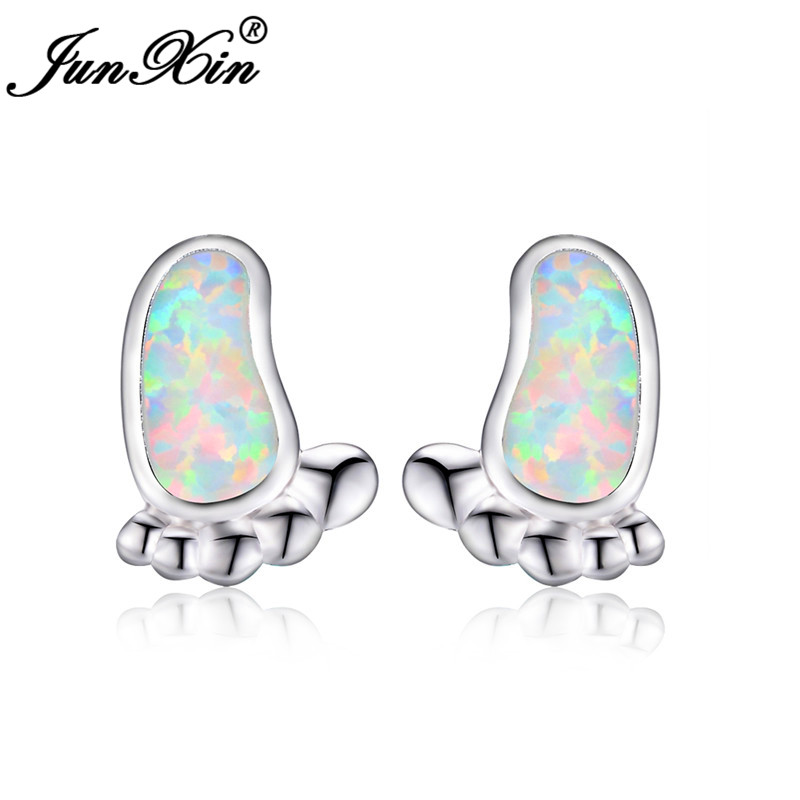 JUNXIN White Gold Filled Cute Feet Stud Earrings For Women Girls Blue White Fire Opal Earrings Wedding Jewelry Accessories