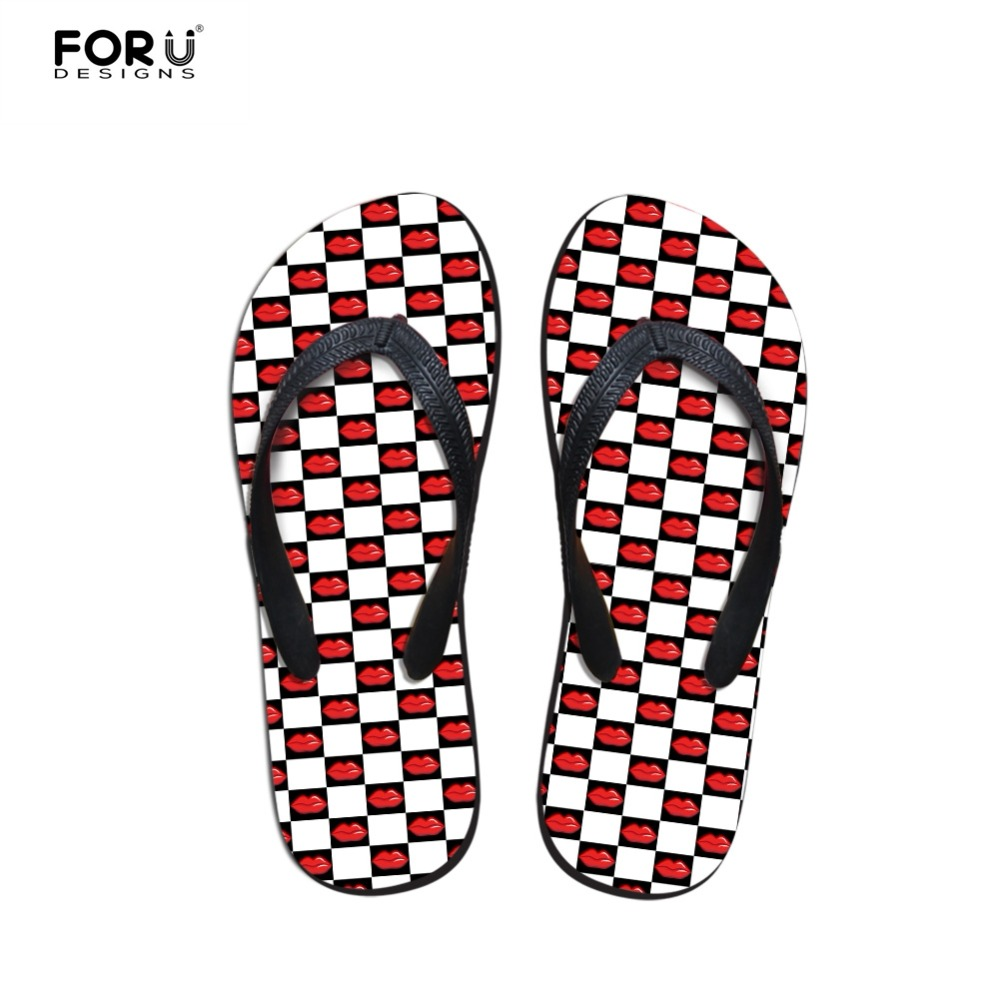 Forudesigns Flip Flops 3D Funny Red Lips Print Summer -4415