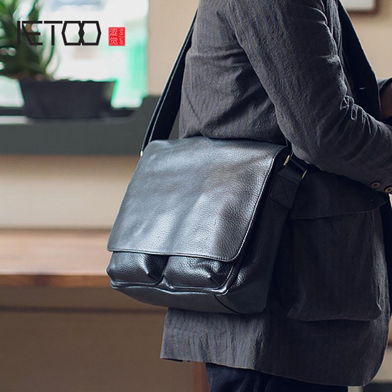 d654dfca1040 AETOO Мужская сумка из воловьей кожи через плечо мужская кожаная сумка  через плечо горизонтальная большая сумка