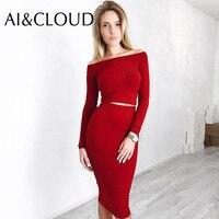 2 PCS Long Sleeve Autumn Winter Bandage Dress Plus Size Women Tunic Casual Off Shoulder Bodycon Midi Boho Runway Dress
