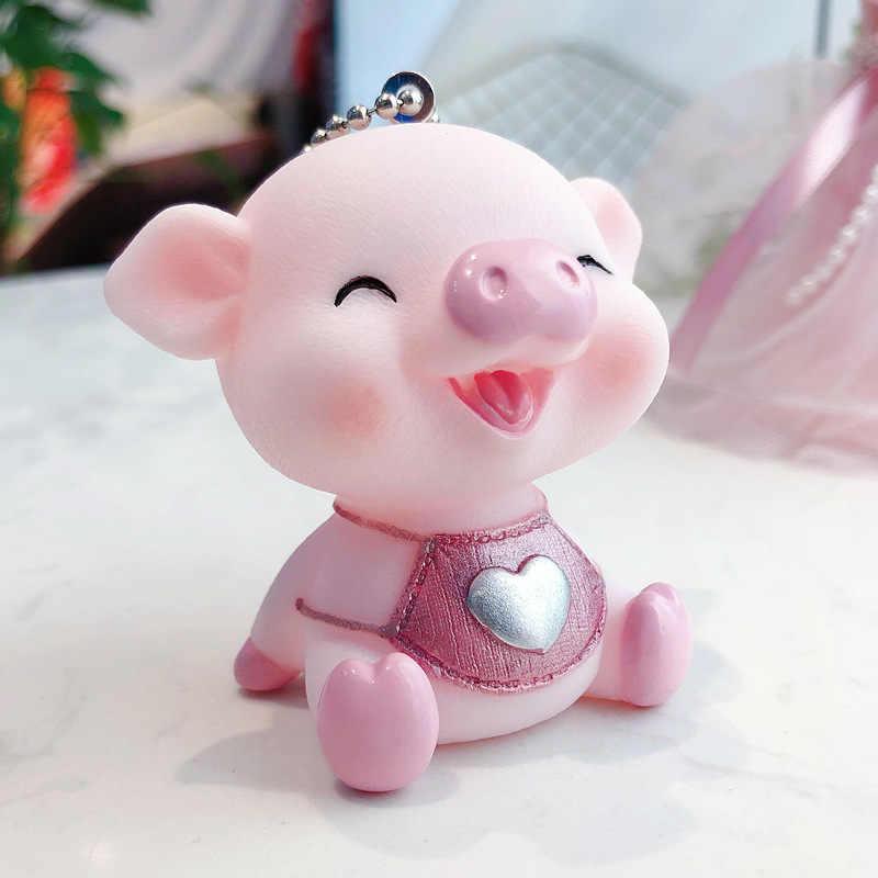 Bonito coelho pele pom pom chaveiro animal dos desenhos animados pvc porco chaveiro coração som chaveiro llavero pompon chaveiro saco charme pingente