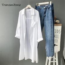 Bawełna kobiety plaża biała długa bluzka 2019 wiosna kobiety koszule z długim rękawem bluzka wysokiej jakości luźne do biura długa bluzka topy tanie tanio COTTON REGULAR Na co dzień Dzianiny Pełna NONE Plaid Skręcić w dół kołnierz 970ZCX Transmitone Office lady blouse