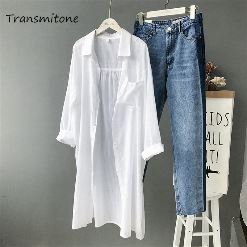 Cotton Women Beach White Long Blouse 2019 Spring Women Long Sleeve Shirts Blouse High quality loose Office Long Blouse Tops(China)