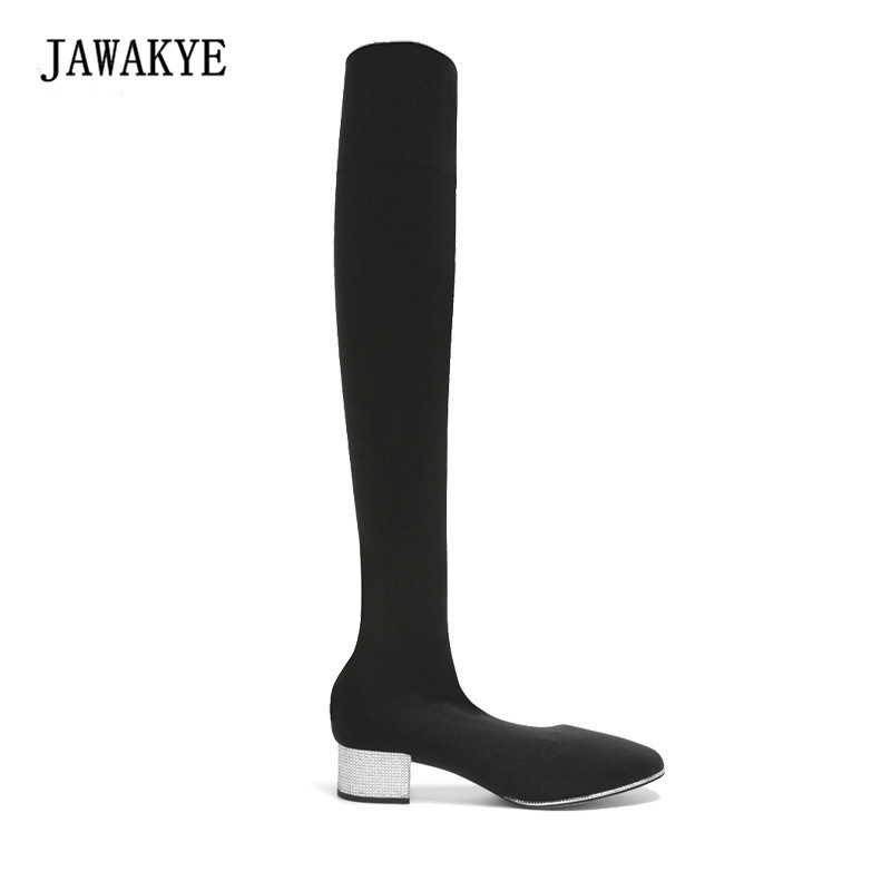 2017 Black Sock Boots Women Pointed Toe Rhinestone Heel Stretch Long Boots Woman Fashion Slim Over The Knee Boots JAWAKYE