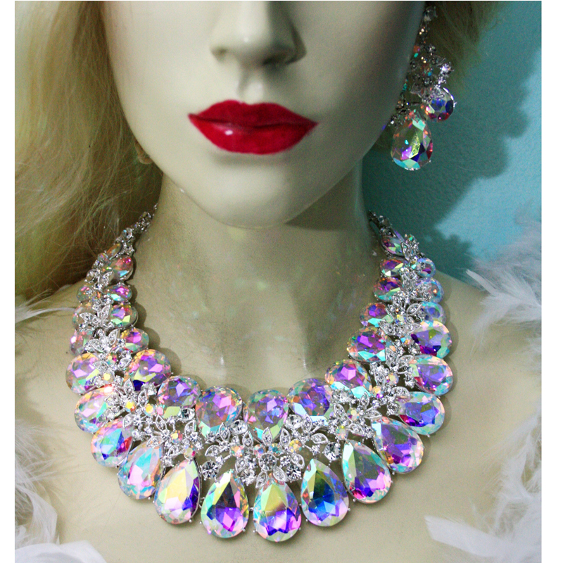 Unique High quality AB crystal Statement jewelry sets For bride wedding necklace earrings women party jewelry water drop shap цена