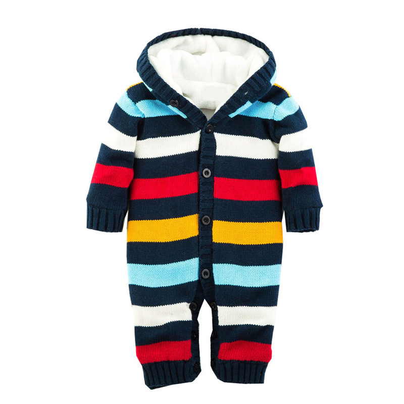 Rainbow Striped Pattern Hooded Romer Baby Rompers Winter Thick Climbing Clothes Newborn Boys Girls Warm Romper Knitted Sweater