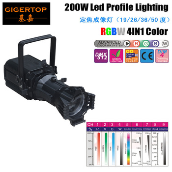 Бесплатная доставка TP-012 крытый 200 W RGBW для сцены светодиодное профильное освещение 4 выбирается затемнения поможет подкорректировать недос...