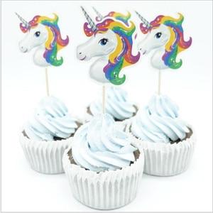 Image 3 - Lote de 24 unidades de insertos para pastel de unicornio, palillos de fruta para pastel de cumpleaños, insertos de materiales de decoración para boda