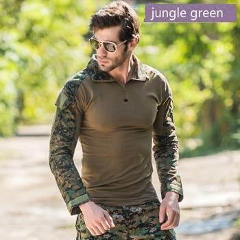 Ejército Uniforme Multicámara | Camuflaje Táctico Camisa Militar Para Hombres Manga Larga Soldado Camisetas De Ejército Uniforme Multicámara Traje De Rana Camisetas Ropa De Combate Hombres