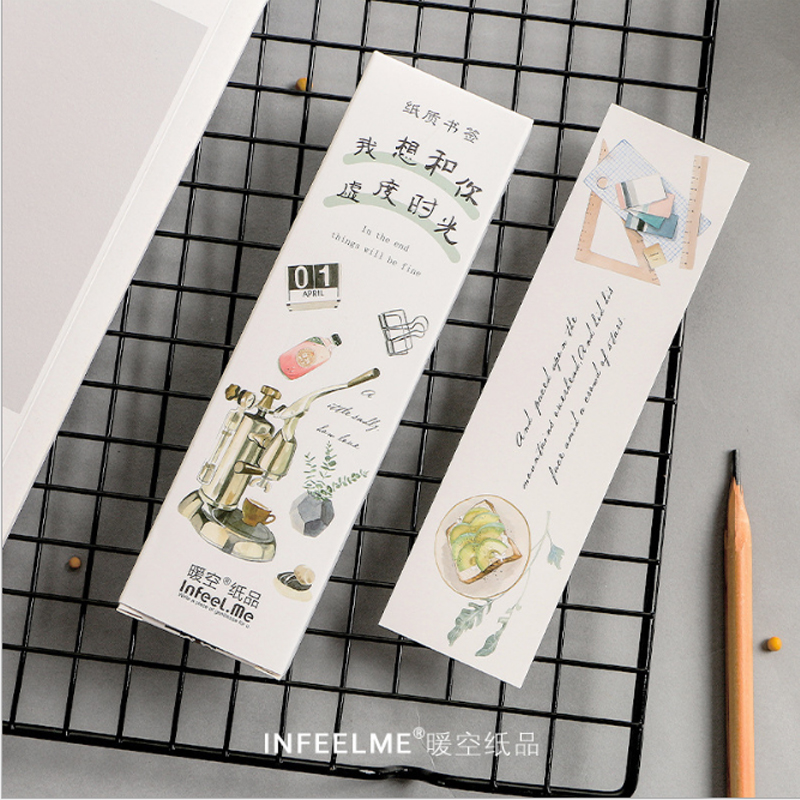 30pcs/box Creative Good Life Gift Bookmarks Marker Stationery Realistic Kawaii Cartoon Bookmarks Office School Supply