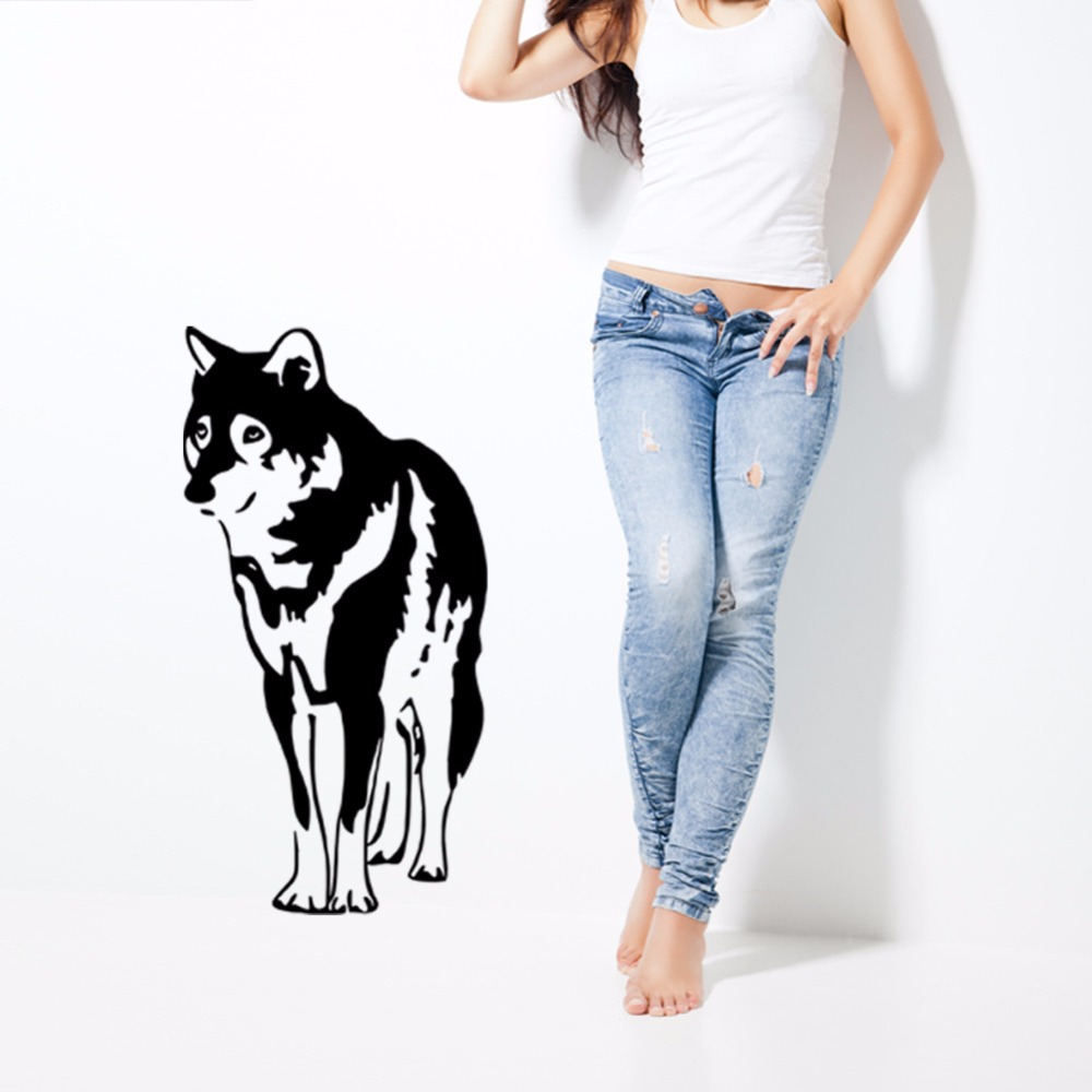 "Bedroom Art Supplies: Creative ""Pet Dog Husky"" Removable Wall Stickers Living"