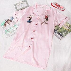 Image 5 - Versión coreana nueva mujer de seda sintética Popeye de manga corta de verano señoras hebilla vestido noche informal ropa de dormir