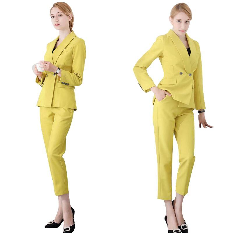 Pantalons Dame Définit Jaune Noir Mode Et Bureau Vêtements Travail Femme Pantalon Blazers Slim jaune Deux Costume Professionnel Costumes Crayon Ensembles Femmes De z6FtWq