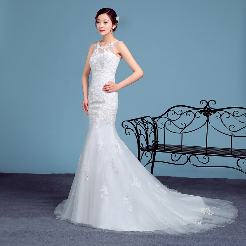 white lace wedding gowns mermaid plus size long train
