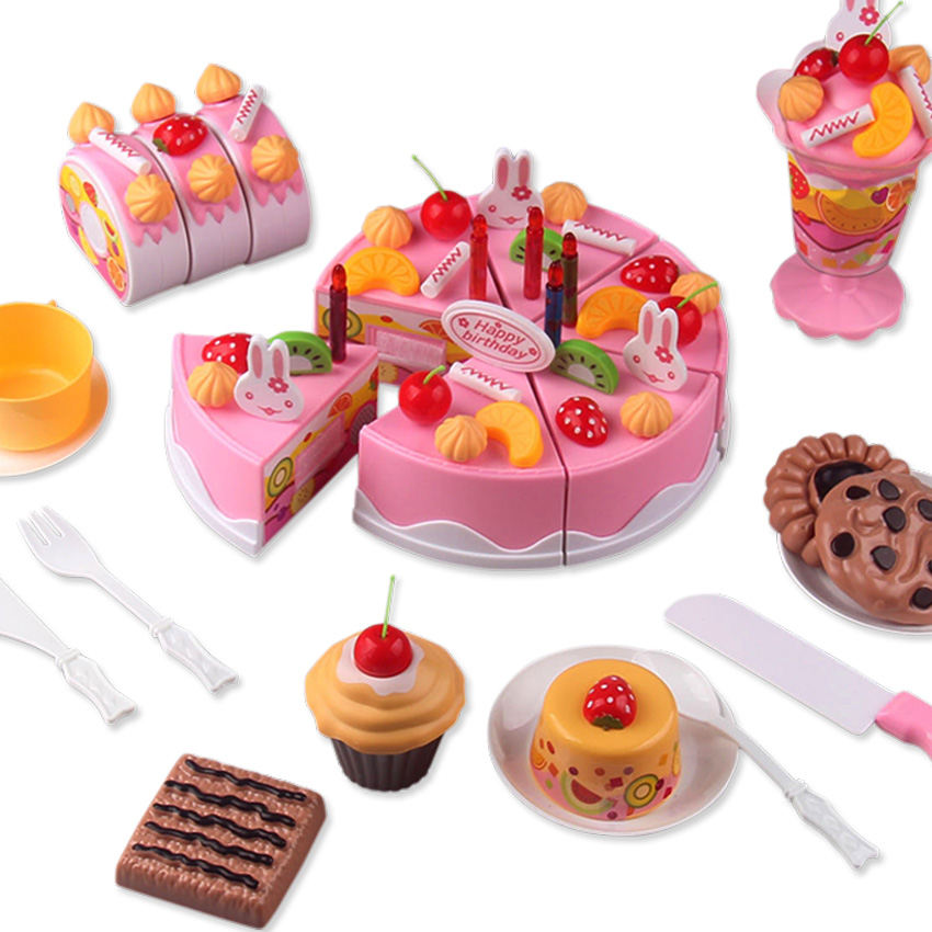 75Pcs/ Set Plastic Kitchen Cutting Toy Birthday Cake Pretend Play Food Toy Set gift for Kids Girl Educational Toy Play house toy baby toys child furniture set simulation kitchen toy educational plastic toy food set assemble play house baby birthday gift