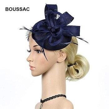 Women Wedding hair fascinators hats navy red black vintage fedora hat imitate sinamay loops headpiece feather married headdress headpiece