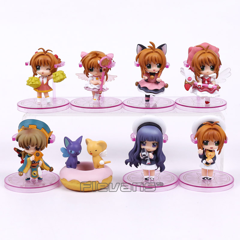 Anime Karte Captor Sakura PVC Figuren Spielzeug Schlüsselanhänger 8 teile/satz Kinomoto Sakura Daidouji Tomoyo Li Syaoran Kero