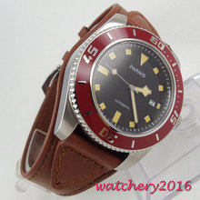 Newest Hot Luxury Fashion Parnis 43mm black dial sapphire glass brown bezel date window Automatic Mechancial