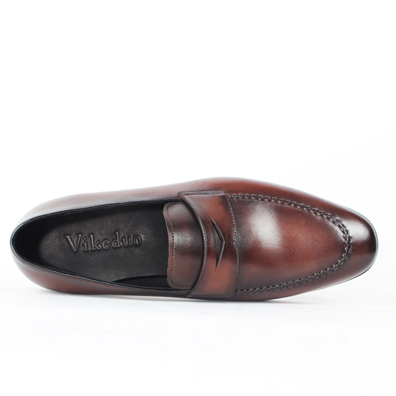 Vikeduo 2019 Handmade Vintage Italy Original Wedding Shoes Men Genuine Cow Leather Flat Men's Penny Loafer Shoes Patina Footwear-in Men's Casual Shoes from Shoes    2