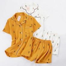 Women Pajamas Set Summer Comfort Gauze Cotton Turn down Collar Sleepwear Set Ladies Thin Loose Cartoon Carrot Printed Homewear