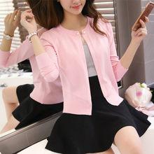 2018 new spring ladies pearl button cardigan sweater slim Korean cape coat F1597(China)
