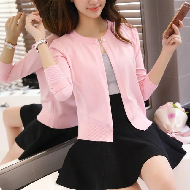 2019 phụ nữ mùa xuân mới nút ngọc trai cardigan áo len mỏng Hàn Quốc áo choàng F1597