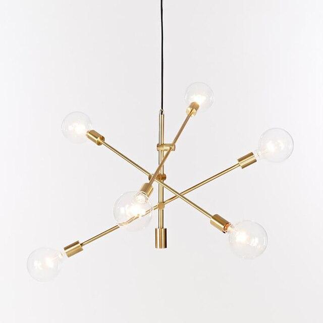 Nordic round glass ball ceiling hanging chandelier light lamp gold modern adjustable droplight simple hanging chandelier light
