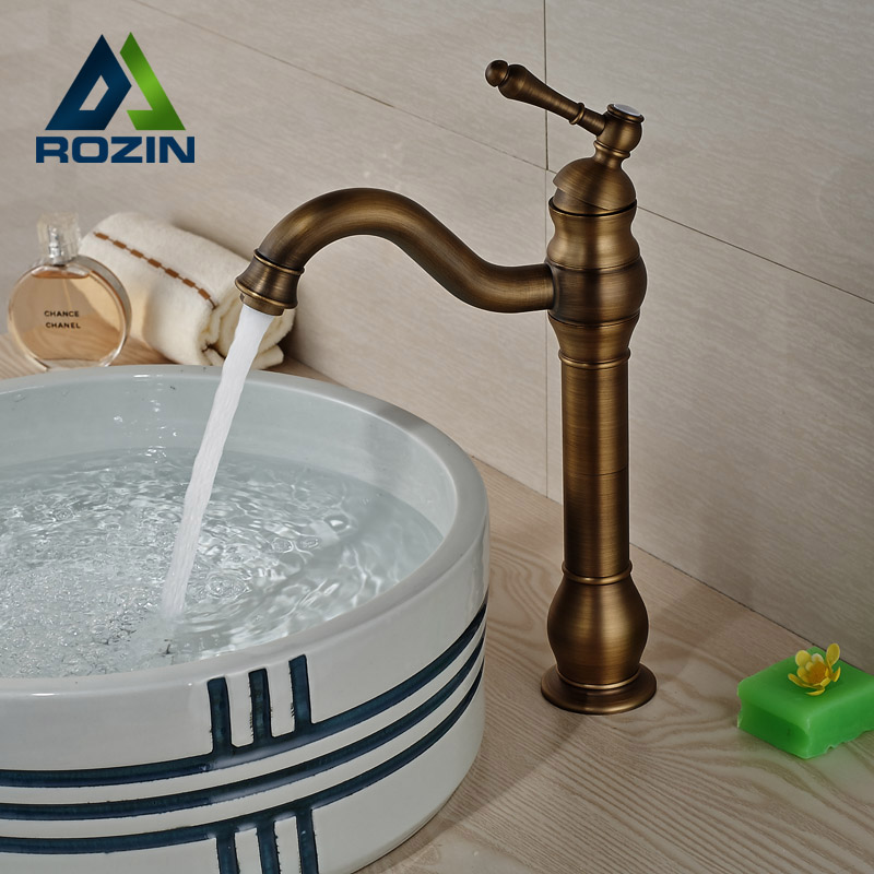 Luxury Brass Retro Style Basin Faucet Deck Mount Single Handle Bathroom Countertop Sink Mixer Taps free shipping deck mount tall countertop basin vessel sink faucet single handle waterfall mixer taps antique brass 7005f