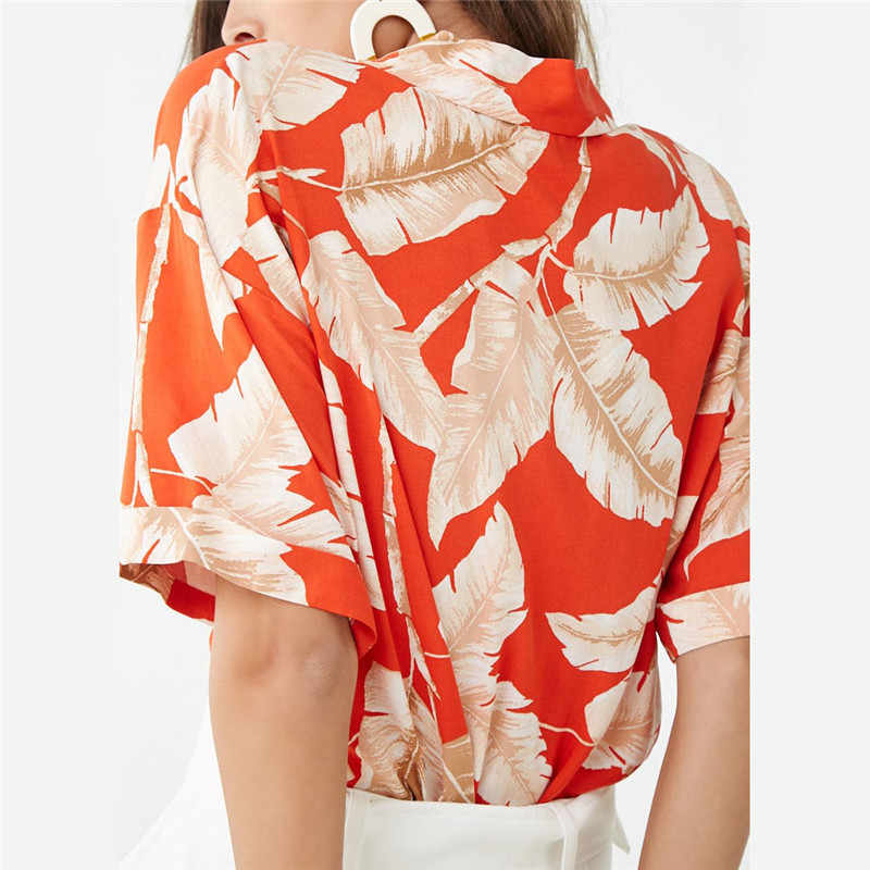 夏ブラウス女性半袖シフォンブラウスカジュアル自由奔放に生きるスタイル花柄ターンダウン襟オフィスシャツプラスサイズ