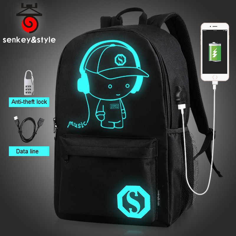 Luminous School dla nastolatka wodoodporny plecak czarny usb Charge Bagpack zestaw młodzieżowy dla dzieci dziewczyna torba dla niemowląt Anime anti theft Batoh