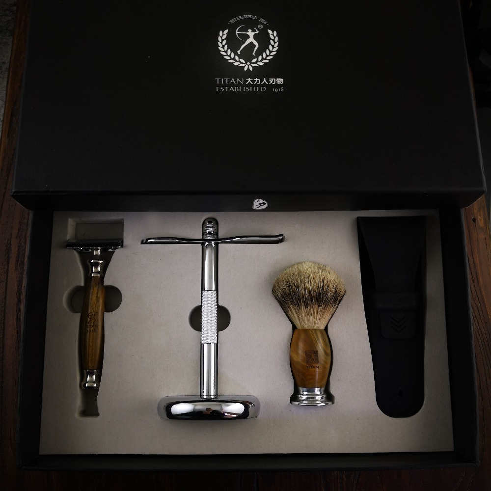Titan razor set with natural green sandal wood safety razor top silver badger hair with gift package мфу лазерное canon imagerunner 2204