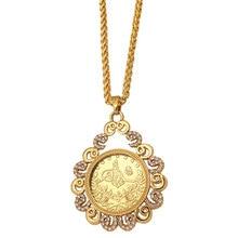 ZKD islam Arabischen Münze Gold Farbe Türkei Münzen Anhänger Halskette muslimischen Ottomane münzen schmuck