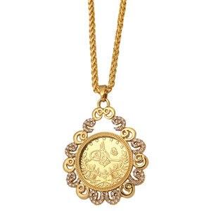 Image 1 - ZKD İslam arap sikke altın renk türkiye paraları kolye kolye müslüman osmanlı paraları takı