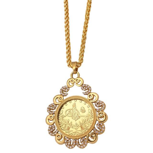ZKD İslam arap sikke altın renk türkiye paraları kolye kolye müslüman osmanlı paraları takı