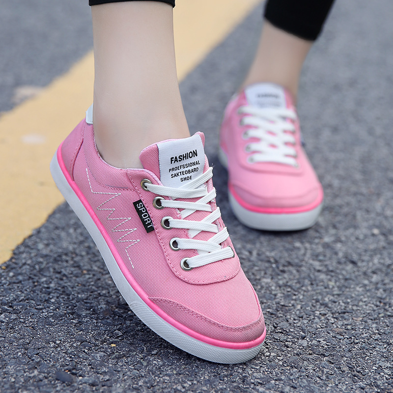Blancos blanco Femeninos Negro Baja La Zapatos Mujeres Un Quebrada Primavera Línea Casuales Tendencia rosado Las Lona Verano Y De 2016 Solo RzYxO