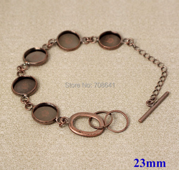23mm Antique Copper Plated Brass Round Bezel tray Blank Cabochon Bases Link Chain Bracelet Settings Findings Wholesale